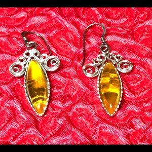 Genuine sterling Amber Earrings